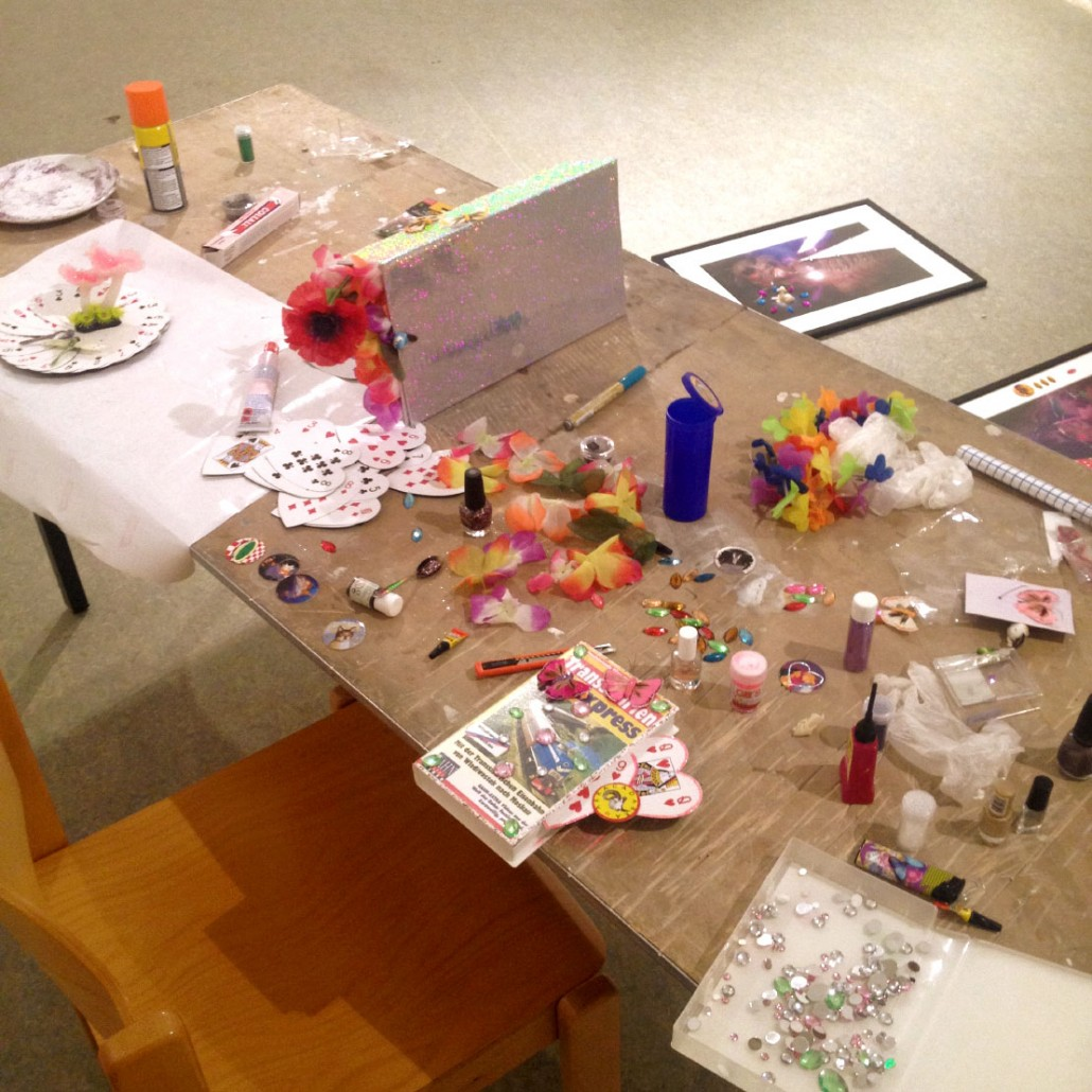 Anina's working space, with works in progress from summer 2015